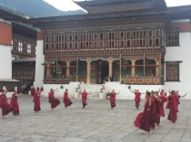 Monks practicing for the upcoming Tsechu in September